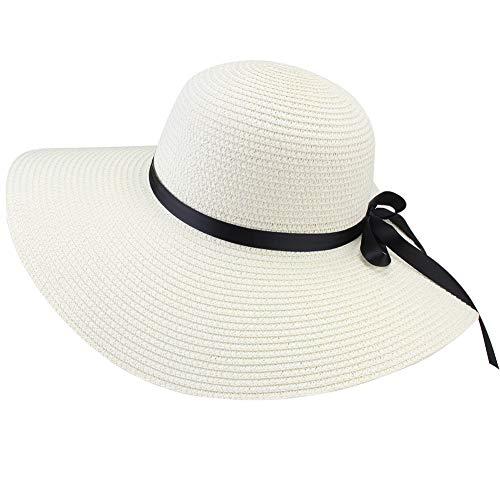 FURTALK Women Wide Brim Sun Hat Summer Beach Cap UPF50 UV Packable Straw Hat for Travel (Medium, Adult WideBrim Light Beige) ()