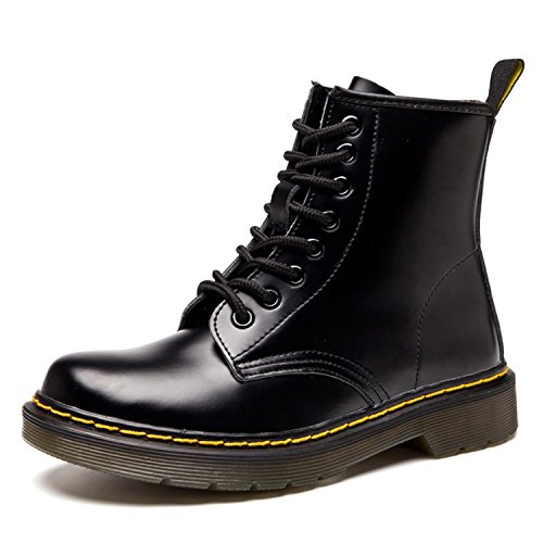 Doublure Ukstore Femme boots Fourrure Fourrées Botte 2 Bottes Plates Cuir classiques Impermeables homme bottines Chaudes Chaussures noir Lacets Martin Hiver x4xaR1wrq