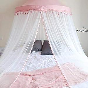 Bulawlly Lettino Canopy Rotonda Dome, Principessa Letto a baldacchino zanzariera da Letto, Tenda del Gioco Decorazione della Stanza, zanzara della Rete della Maglia Leggera,Rosa 5 spesavip
