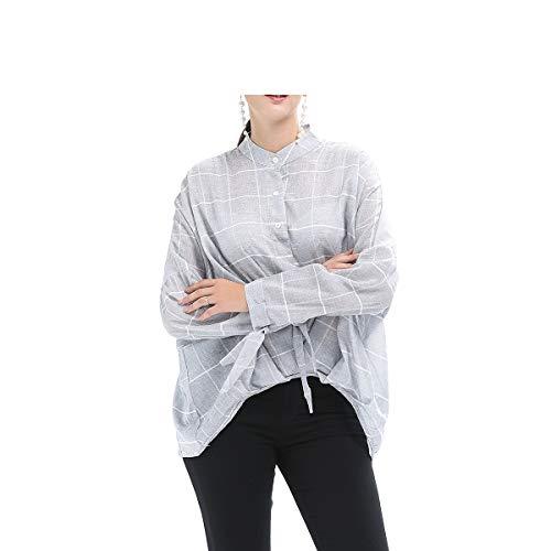 Grigio Maglietta con Lunghe Donna Heeecgoods Colore Colletto da Maniche alla Coreana Dimensione Ampia S a Grigio ZdSgwRq