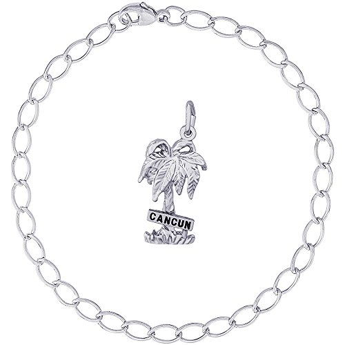 Rembrandt Charms Sterling Silver Cancun Palm Tree Charm on a Elongated Oval Bracelet, 8