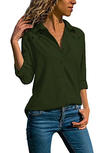 Green Silk Blouse - Ecrocoo Women V Neck Cuffed Long Sleeves Button Down Casual Chiffon T Shirt Blouse Soild Tops Army Green Large