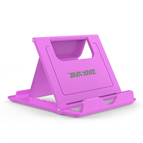 Besom Stand, Cell Phone Stand, Tablet Stand, Universal Foldable Multi-angle Desktop Holder for Smartphone. (Purple)