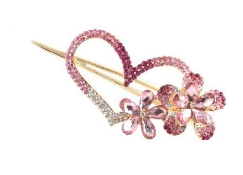 SPHTOEO Fashion Love heart Jewelry Crystal Hair Clips Hairpin - for hair clip hairpins Beauty (Rhinestone Heart Hair Pin)