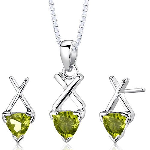 (Peridot Pendant Earrings Necklace Sterling Silver Rhodium Nickel Finish Trillion Shape 1.75 Carats)