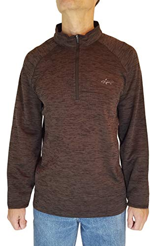Greg Norman 1/4 Zip Long Sleeve Pullover (Large, Brown)