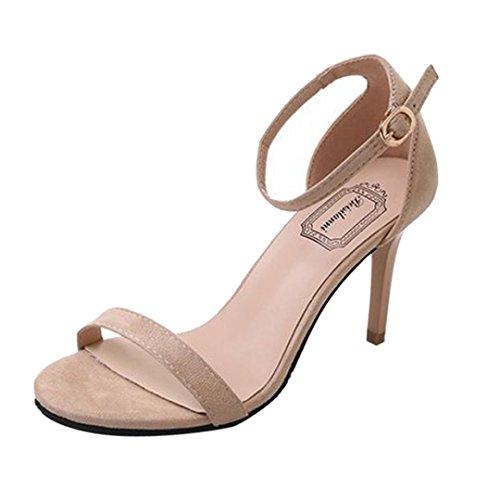 Fiesta de Beige Tobillo Open Altas PAOLIAN Sandalias Boca Tira Sólido para Zapatos Verano Hebilla Moda de Mujer Vestir Tacón de Clásicos Pescado Aguja de con Zapatos 2018 Toe de ppRqfxB