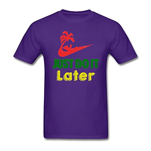 Clarkest Just Do it Later T-shirt for Adult Man O Neck Purple S