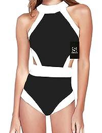 Surenow Trajes de Baño Mujer Completos Bañador Una Pieza Bikini Natación Vacaciones Playa Control Abdomen Push Up