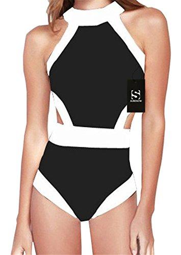 Surenow Women's One Piece High Neck Cut Out Bikini Bathing Suits Retro Swimwear