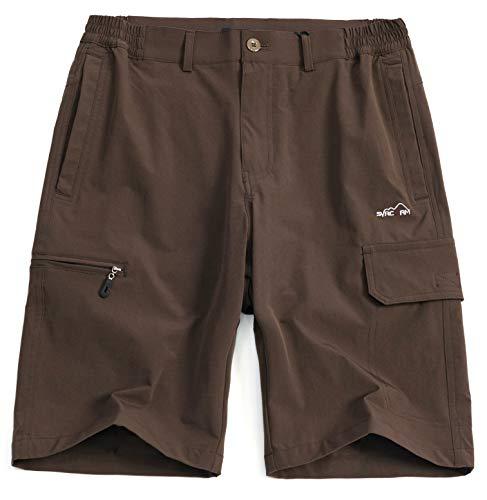 svacuam Men's Adjustable Swimsuit Tankini Bottom Board Shorts Comfort Quick Dry Stretch Board Short S-XXXL Black(Brown,34) ()
