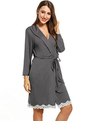 tunica vestaglie con con pizzo risvolto pigiama Grigio scuro cintura Donna cooshional collo FRxz77