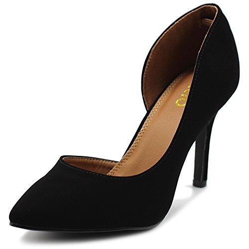 Ollio Women's Shoes Fashion Faux-Suede Dress High Heel D'Orsay Pumps SSH02(9 B(M) US, Black)