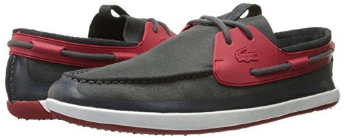 Lacoste Men's L.andsailing 216 1 Boat Shoe, Red/Dark Grey, 10 M US