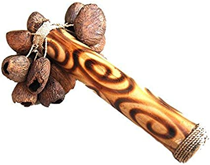 Fair Trade Indonesian Balinese shakers rattle//seed stick//calabash tapar nuts