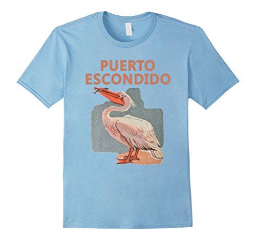 Mens PUERTO ESCONDIDO - Oaxaca - Mexico Pelican T-Shirt XL Baby Blue - Puerto Escondido Mexico