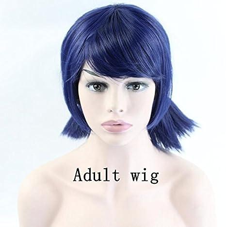 """14"""" Mujeres chicas Cosplay Peluca Doble Coleta mechones corto recta azul oscuro peluca de Halloween"""