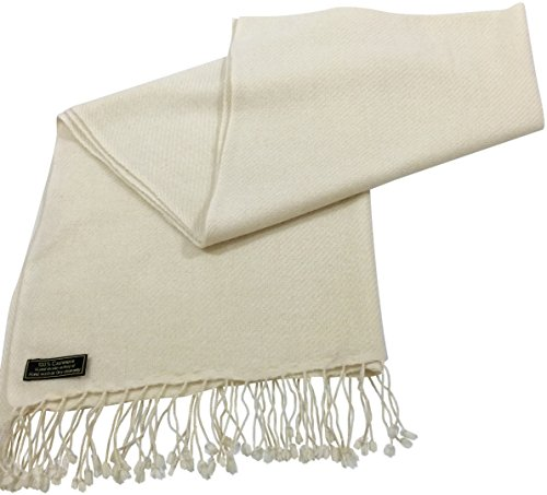 Cream High Grade 100% Cashmere Shawl Scarf Hand Made in Nepal CJ ApparelNEW