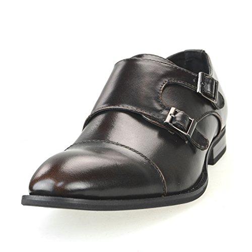 MM/ONE Mens Monkstrap Oxford Shoes Double Cap Toe Memory Foam Insole Kingsize Mpt109-5 Dark Brown
