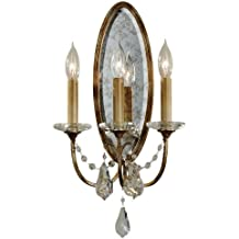 Murray Feiss WB1543OBZ, Valentina Candle Crystal Wall Sconce Lighting, 3 Light, 180 Watts, Bronze