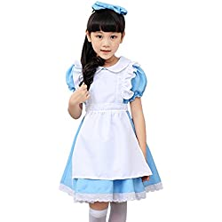 Amur Leopard Kids Halloween Party Costume Dress Alice Little Housemaid Blue XL