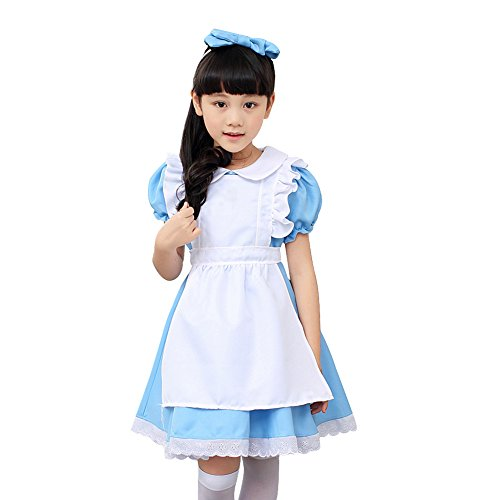 [Amur Leopard Kids Halloween Costume Dress Alice Little Housemaid Blue M] (Kids Alice Costumes)