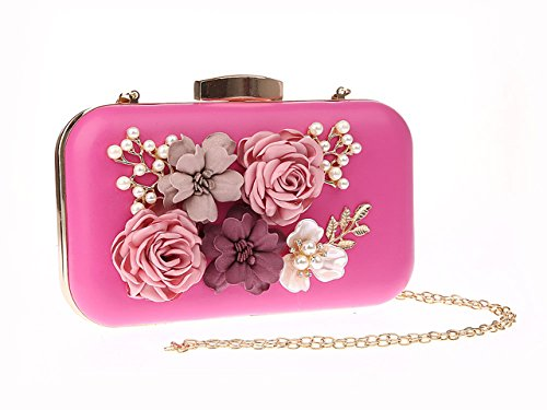 Party Evening Handwork Bag Bride Clutches red Fashion Pearl Purses Ankoee Bags Rose Flower Women T1HSffvqw