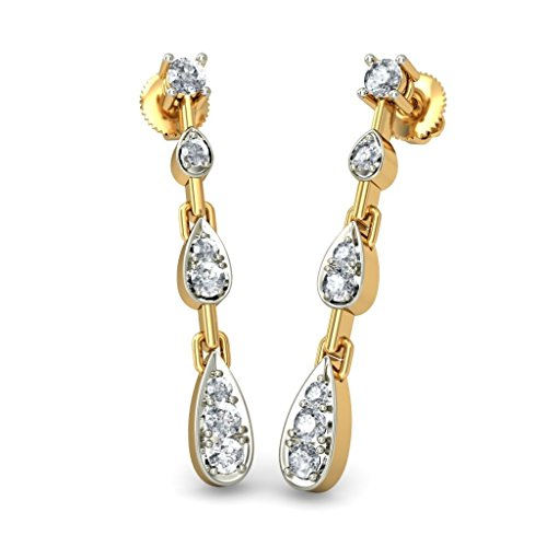 18 K Or jaune 0,43 CT TW White-diamond (IJ | SI) Pendants d'oreilles