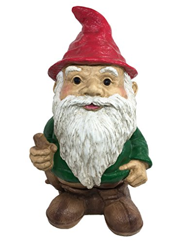 Cheap Universal Classic Sculptural Garden Trekking Gnome with Stick Statue- (Handcrafted Home and Outdoor Garden Statue), 11-Inch