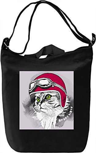 Funny Cat Driver Borsa Giornaliera Canvas Canvas Day Bag| 100% Premium Cotton Canvas| DTG Printing|