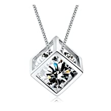 SALE 18K White Gold GP Clear White Swarovski Crystal CZ Beauty Necklace Chain Pendant
