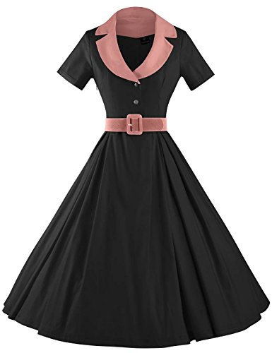 GownTown Women's Audrey Hepburn Style Short Sleeve Belt Waist Cocktail (50's Fashion For Women)