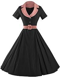 Women's Audrey Hepburn Style Short Sleeve Belt Waist Cocktail Dress
