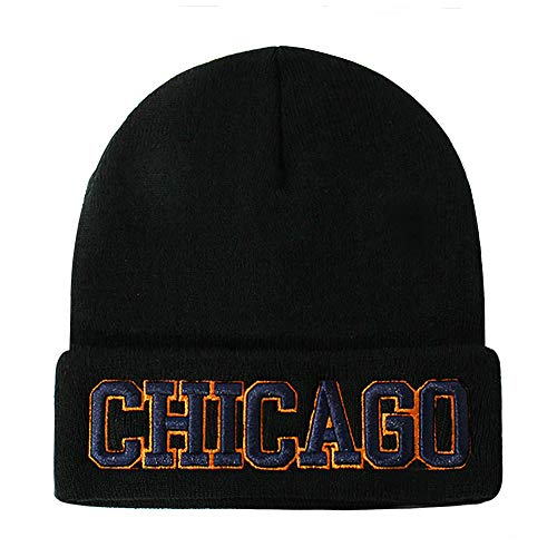 - Classic Cuff Beanie Hat - Black Cuffed Football Winter Skully Hat Knit Toque Cap (Chicago)