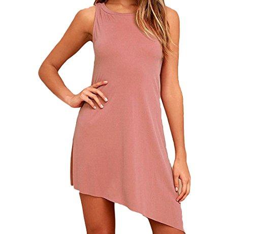 Coolred Da Casuale Diagonale Vestito Partito Adatta Pink1 Sera Womens Maniche 0qEdU01