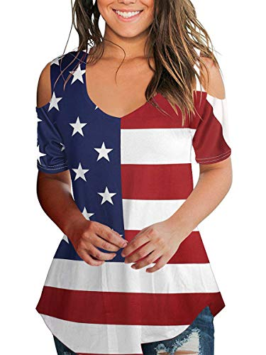 SLIMMING GRIL July Fourth Shirts Women Cold Shoulder Tops Summer Tunic Stars and Strips XXL -