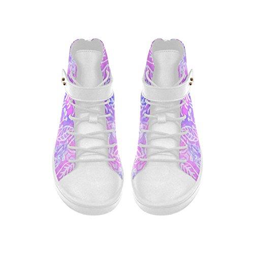 D-histoire Bout Rond Haut Haut Chaussures Lavande Floral Aquarelle Femmes Sneakers