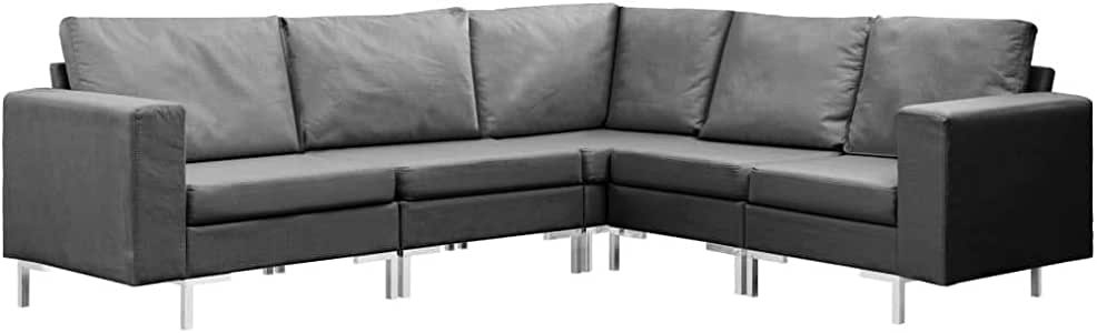 vidaXL 5 Piece Sofa Set Indoor Lounge Home Living Room Office Furniture Interior Couch Sofa Chair Seat Chaise Lounge Lounger Fabric Dark Grey