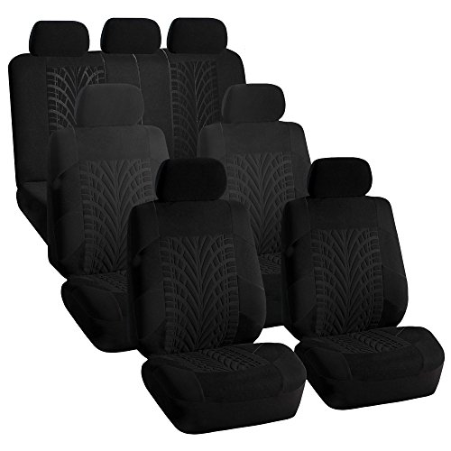 FH GROUP FH-FB071217 Complete Three Row Set Travel Master Seat Covers Solid Black, (Airbag Ready & Rear Split) - Fit Most Car, Truck, Suv, or Van