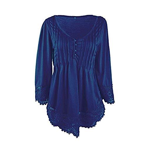 Scavare Giuntura Lunga Neck Monocromo Eleganti Moda T Shirt V Irregular Primaverile Casual Giovane Donna Stlie Blau Tshirts Pieghe Moda Grazioso Top Manica Shirts Pizzo WnOvYX8x
