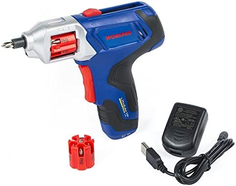 WORKPRO Cordless Rechargeable Power Screwdriver Lithium-ion 3.6V with Quick Change Bits