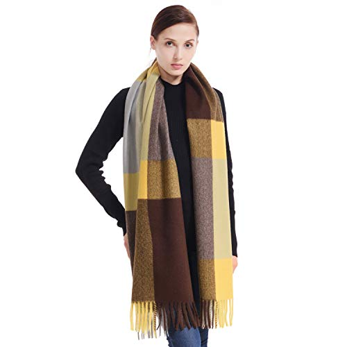 LERDU Women's Cashmere Tartan Shawl Wraps Gift Box Wrapped Large Winter Pashmina Stole Scarf for Ladies