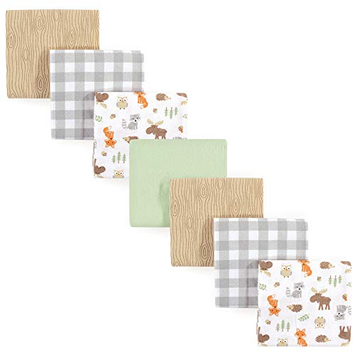 Hudson Baby Unisex Baby Cotton Flannel Receiving Blankets, 7-Pack, Woodland, One Size (Brown Receiving Blankets)