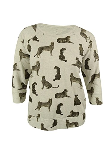 Style & Co. Women's Sport Cheetah Print Sweatshirt (1X, White Heather)