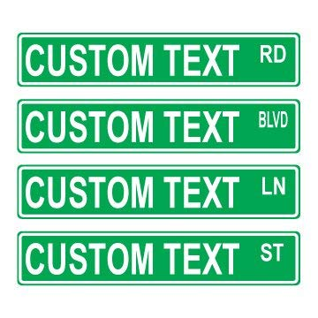 Custom 6x24 Green Street Sign ()