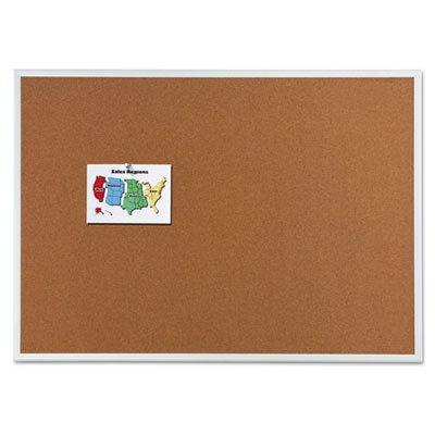Classic Cork Bulletin Board, 72 x 48, Silver Aluminum Frame, Sold as 1 Each by Quartet