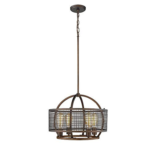 - Millennium Lighting Rubbed Bronze and Wood Grain Four-Light Pendant