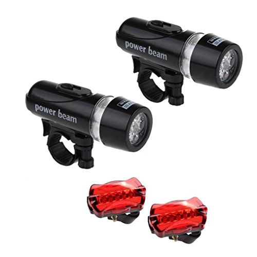 Feccile S-ports & Fit-ness Ultra Bright Bicycle 2 Pack Head Lights+ 2Pack Taillight Combinations Cycling,1Set(4 Pcs) by Feccile S-ports & Fit-ness