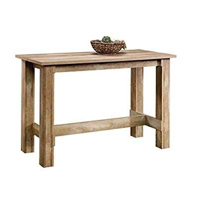 Sauder Boone Mountain Counter Height Dining Table, Craftsman Oak finish - One-inch thick split top Accommodates four people Craftsman Oak finish - kitchen-dining-room-furniture, kitchen-dining-room, kitchen-dining-room-tables - 41kDgqVzLDL. SS400  -