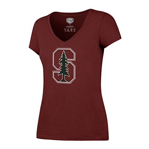 NCAA Stanford Cardinal Women's OTS Rival V-Neck Tee, Cardinal, Medium (Stanford Tee)